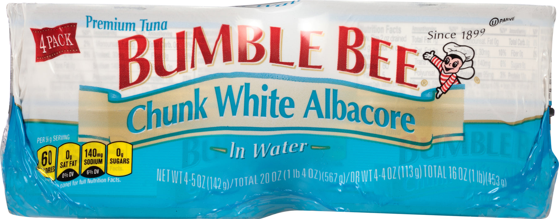 (4 Cans) BUMBLE BEE Chunk White Albacore Tuna Fish in Water, 5 Ounce Cans, High Protein Food and Snacks