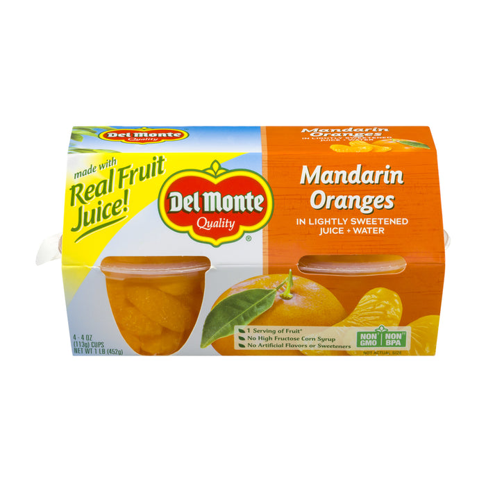 Del Monte Fruit Cup Snacks Mandarin Oranges in 100% Juice 4 oz fruit cups