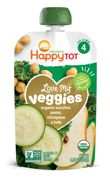 Happy Tot Organics Love My Veggies Zucchini, Pears, Chickpeas & Kale Veggie & Fruit Blend 8-4.22 oz. Pouches