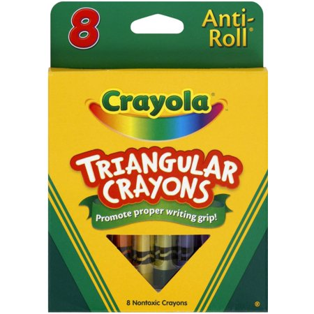 Crayola Anti-Roll Triangular Crayons, Assorted Colors 8 Count (Pack of 2)