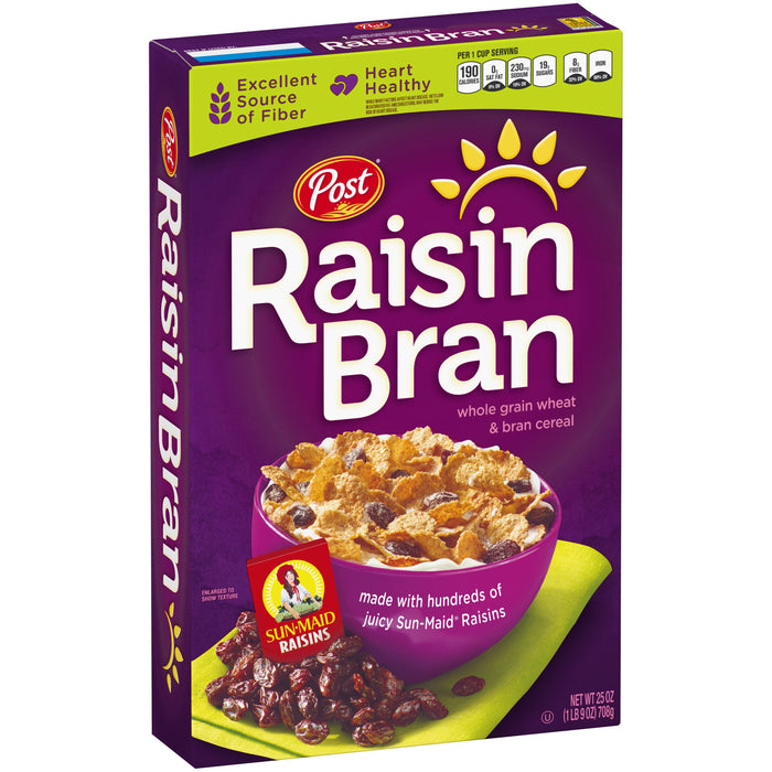 Post Raisin Bran Whole Grain Breakfast Cereal, 25 Oz