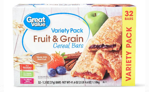 Great Value Fruit & Grain Bars, Variety Pack, 41.6 oz, 32 Count