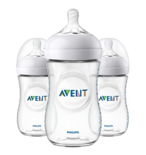 Philips Avent Natural Baby Bottle, Clear, 9oz, 3pk, SCF013/37