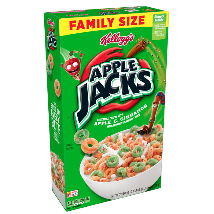Kellogg's Apple Jacks Breakfast Cereal Original Family Size 19.4 oz