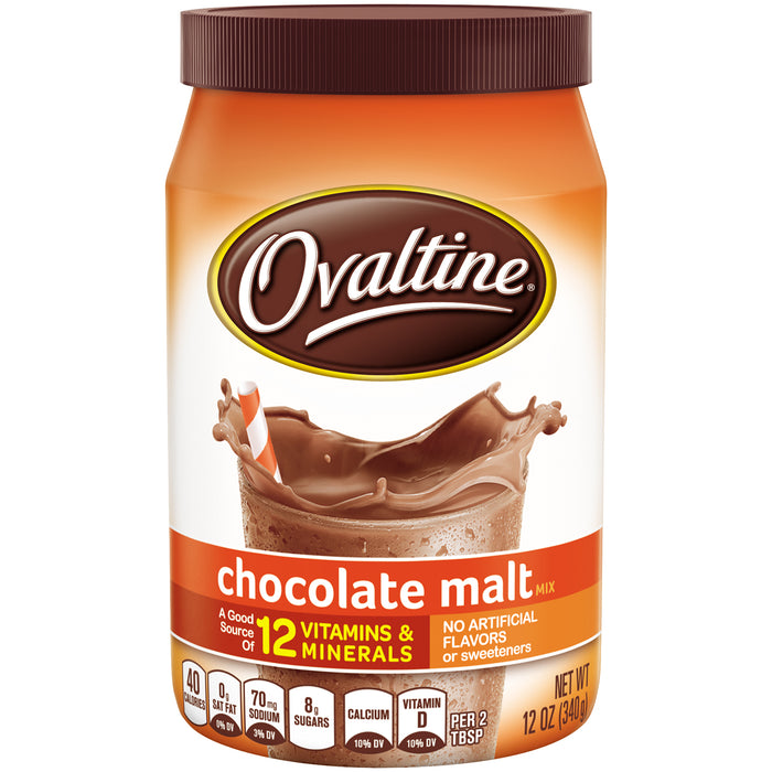 (2 Pack) OVALTINE Chocolate Malt Flavored Milk Mix 12 oz. Canister
