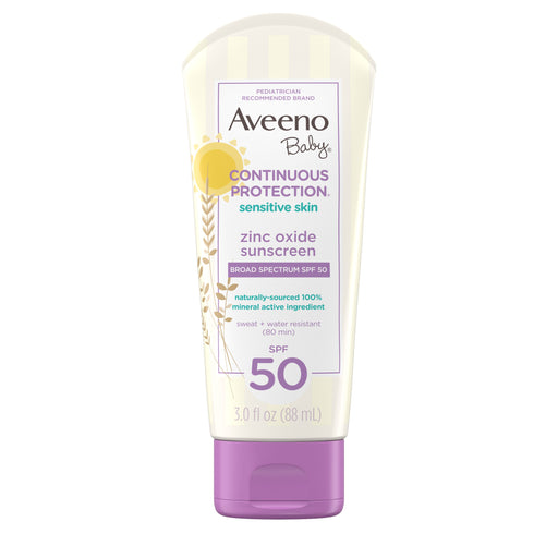Aveeno Baby Continuous Protection Zinc Oxide Mineral Sunscreen, SPF 50