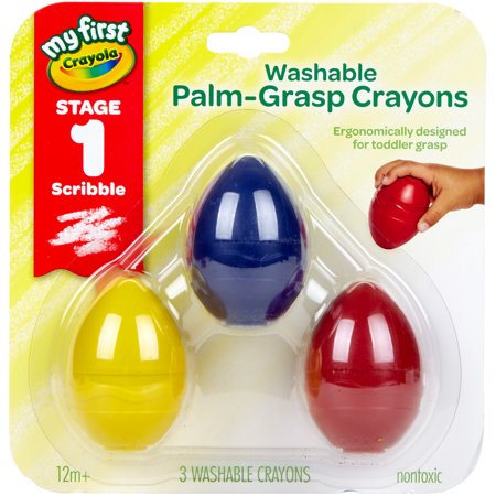 Crayola My First Toddler Crayons, Washable Palm Grip Crayons, 3 Count