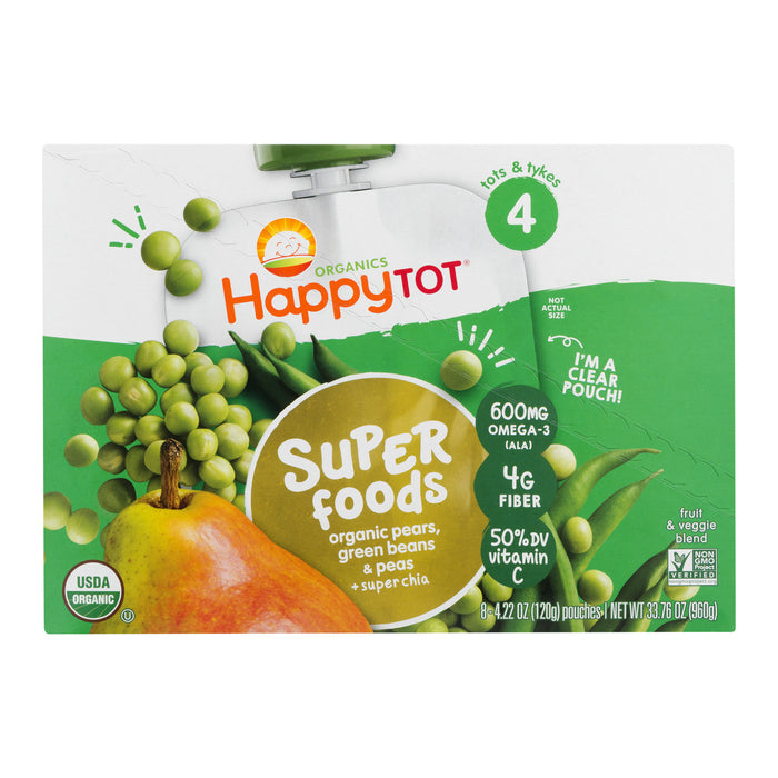 (8 Pouches) Happy Tot Super Foods Stage 4 Organic Pears, Green Beans & Peas + Super Chia Baby Food, 4.22 oz