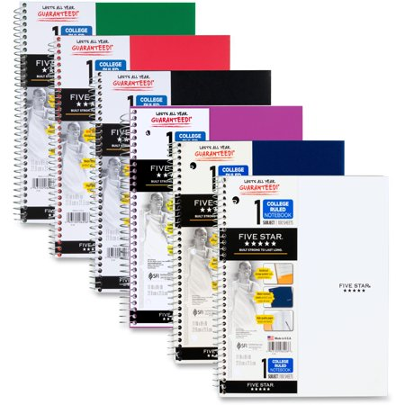 "Five Star 1 Subject College Ruled Notebook,11"" x 8 1/2"", Assorted (08967)"