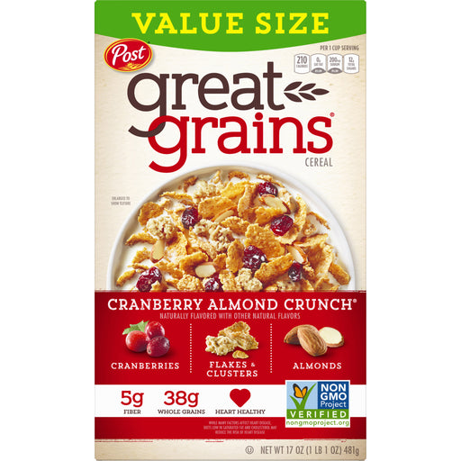 Post Great Grains Cereal, Cranberry Almond, 17oz