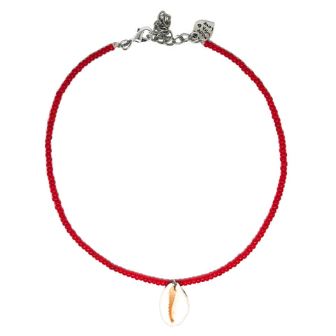 Red Cowrie Shell Choker
