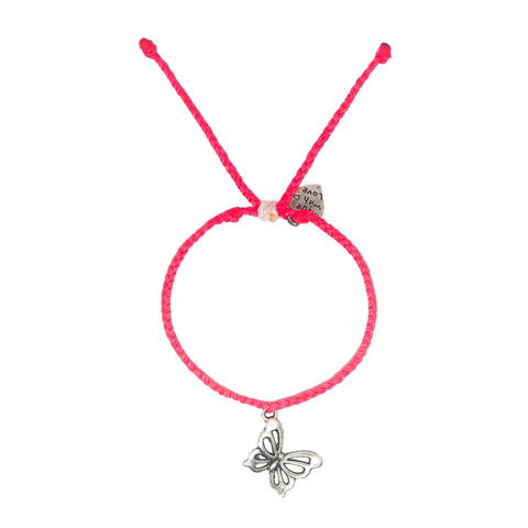 Neon Pink Butterfly Charm