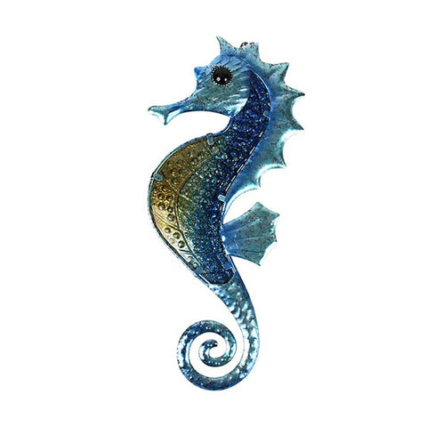 Seahorse Metal and Glass Wall Art