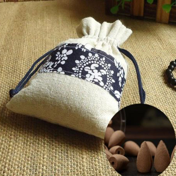 Backflow Incense Cones in Vintage-Style Cloth Bag - 45 pieces