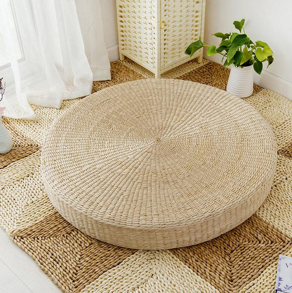 Natural Straw, Foam Filled Meditation Cushion