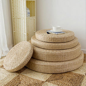Natural Straw, Foam Filled Meditation Cushion - 4 sizes