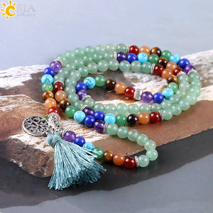 Buddhist Meditation Mala Beads - Green Aventurine with 7 Chakra Stones