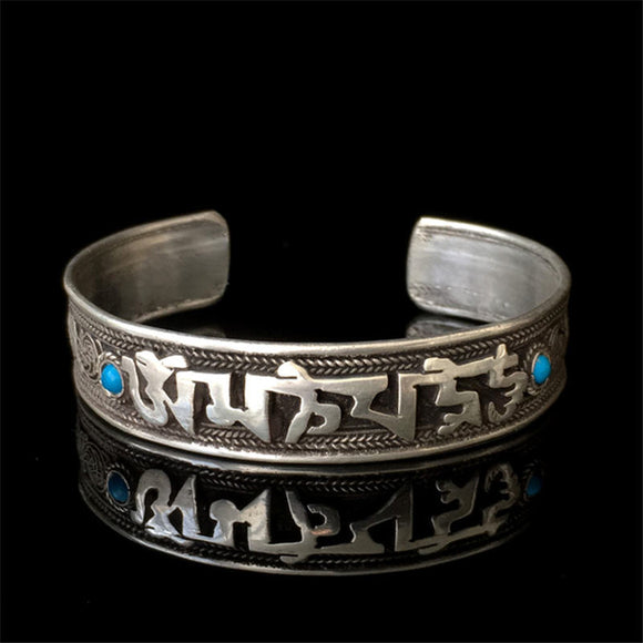 Tibetan Silver Mantra Bangle, OM MANI PAD ME HUM inscription