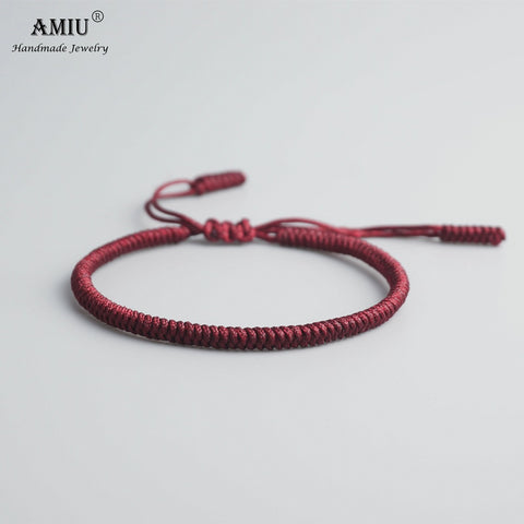 Tibetan Buddhist Lucky Rope Bracelet - Deep Red