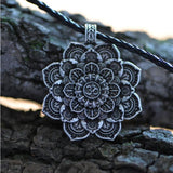 Tibetian Mandala Pendant with Black Leather Cord
