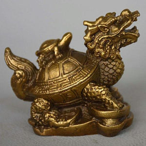 Feng Shui Dragon & Turtle Brass Statue