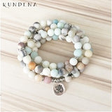 Buddhist Meditation Mala Beads - Frosted Matte Amazonite