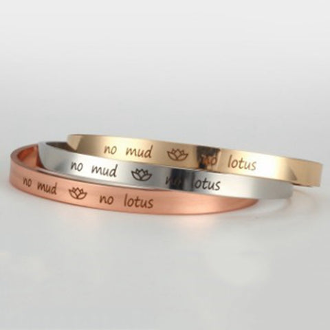 """No Mud. No Lotus"" Cuff Bracelet"