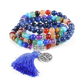 Buddhist Meditation Mala Beads - Lapis Lazuli with 7 Chakra Stones