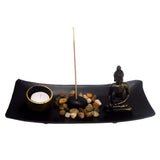 Japanese Zen Garden with Buddha and Tea Light