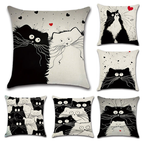 Cartoon Cat  Linen Pillow Cover