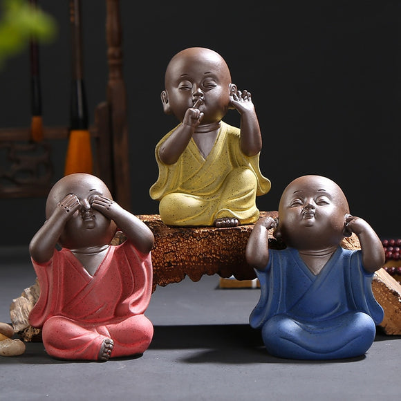 Ceramic Buddhist Monks - See No Evil, Hear No Evil, Speak No Evil.