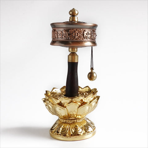 Tibetan Brass Prayer Wheel Contains Scriptures Turning Mute