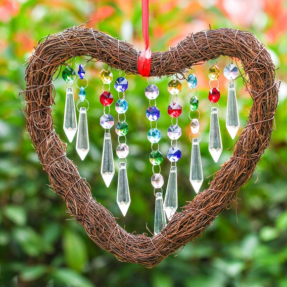 Heart Shape Crystal Fengshui  Suncatcher