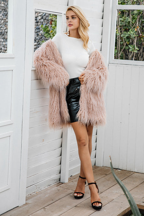 Long Faux Fur Shaggy Coat,Outerwear,- Vive Collections - Online boutique featuring dresses, skirts, tops, playsuits, pants