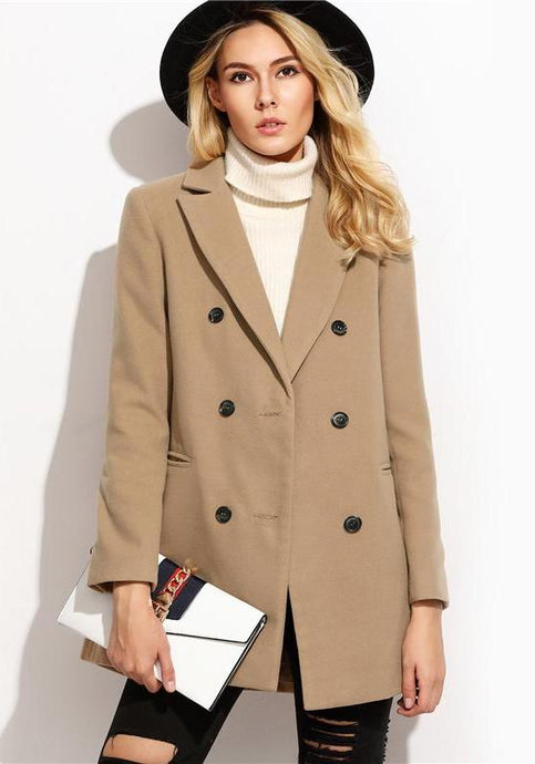 Emily Camel Double Breasted Coat,Outerwear,- Vive Collections - Online boutique featuring dresses, skirts, tops, playsuits, pants