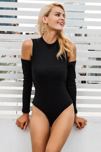 Ribbed Cold Shoulder Bodysuit,Bodysuit,- Vive Collections - Online boutique featuring dresses, skirts, tops, playsuits, pants
