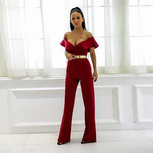 Maltase Off Shoulder Jumpsuit,Playsuit,- Vive Collections - Online boutique featuring dresses, skirts, tops, playsuits, pants