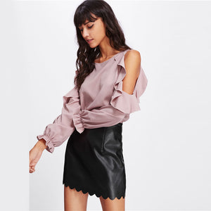 Caroline Cold Shoulder Blouse,Tops,- Vive Collections - Online boutique featuring dresses, skirts, tops, playsuits, pants
