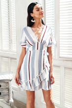 Audrey Stripe Ruffle Dress,Dress,- Vive Collections - Online boutique featuring dresses, skirts, tops, playsuits, pants