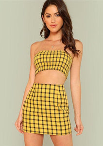 Scarlett Checked Two Piece,Sets,- Vive Collections - Online boutique featuring dresses, skirts, tops, playsuits, pants