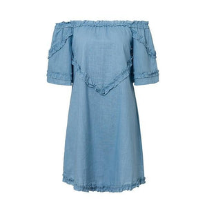 Iris Ruffle Bardot Dress,Dress,- Vive Collections - Online boutique featuring dresses, skirts, tops, playsuits, pants