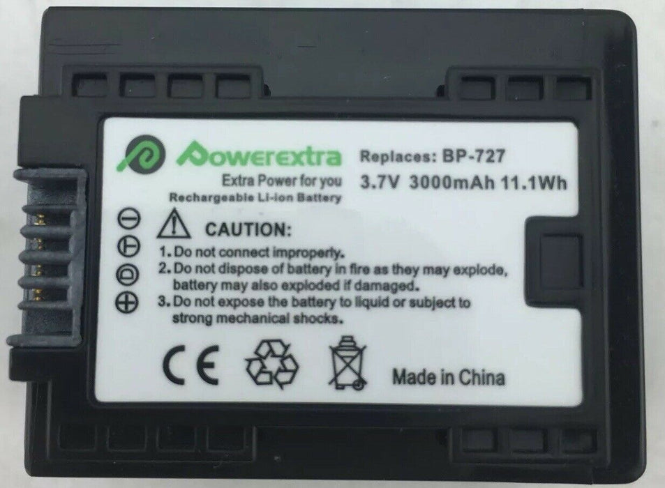 Powerextra BP-727 battery for Canon VIXIA HF R300 R400 R500 R600 R700 M50 M52