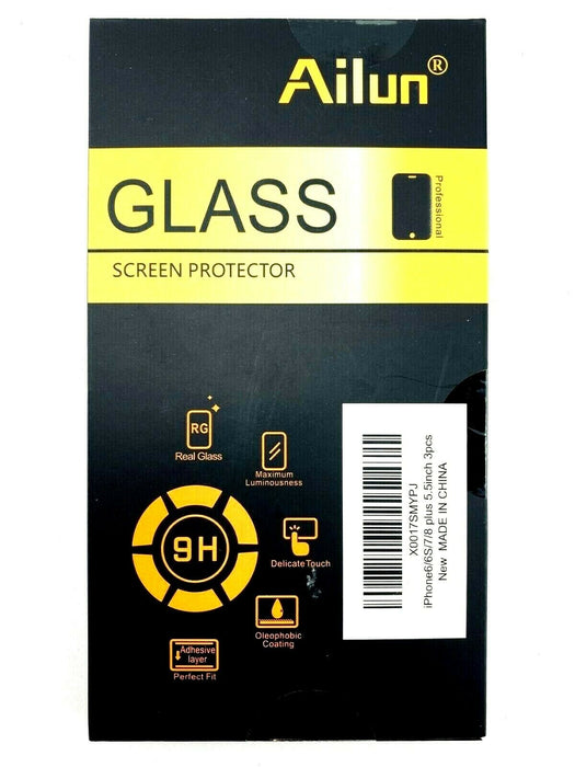 "Best Value 3-Pack Glass Screen Protector iPhone 8 Plus 7 Plus 6 Plus 5.5"" Ailun"
