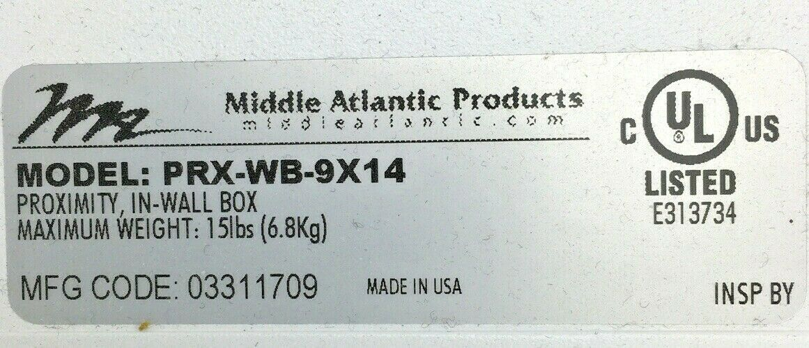 Middle Atlantic PRX-WB-9X14 Proximity In-Wall Box for Small Device Mounting