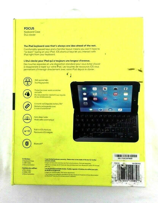 Logitech Logi Focus Keyboard Case with Integrated Keyboard for iPad mini 4