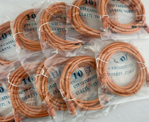 10 Pack UTP Cat6 10FT RJ-45 Ethernet LAN Network Patch Cable Orange  UL & ETL