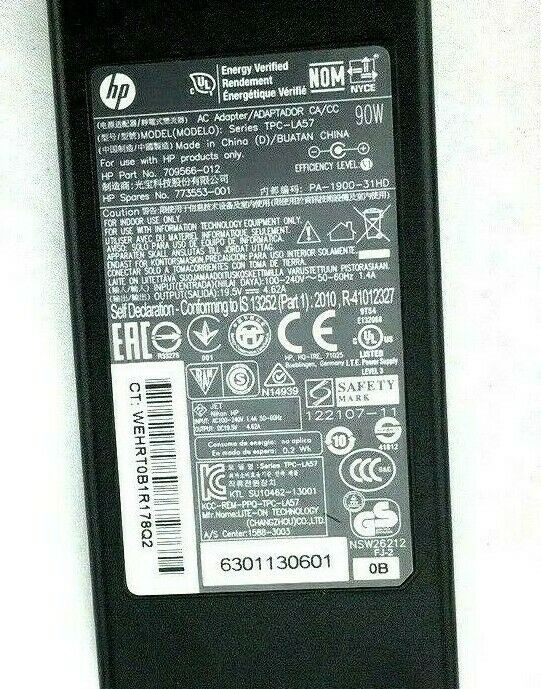 Genuine HP MONITOR OEM Charger 19.5V 4.62A 90W TPC-LA57 709566-012 7.4mm*5.0mm