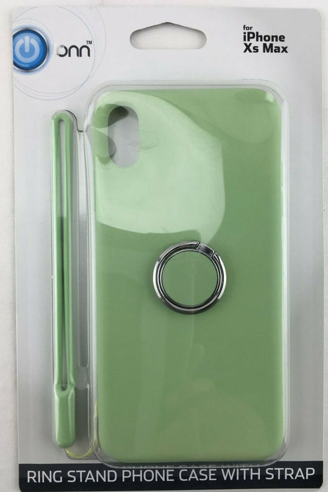 Light Green Ring Stand Phone Case with a Silicon Strap | ONN for iPhone Xs Max