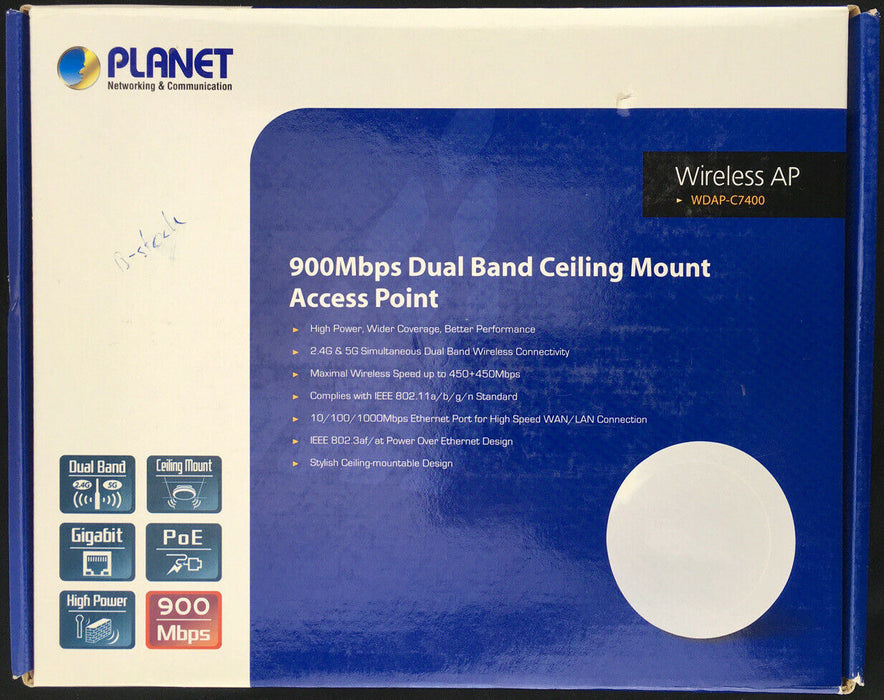 Planet WDAP-C7400 Wireless Access Point 900Mbps Dual Band Ceiling Mount PoE