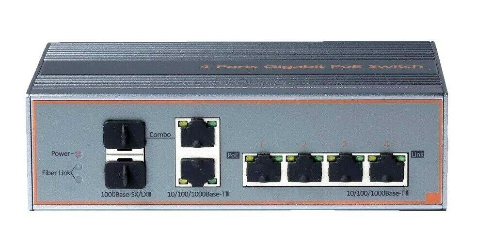 KA-GH6P 4-PORT INDUSTRIAL GIGABIT POE++ SWITCH, 2-PORT FIBER SFP (-40 TO 75C)